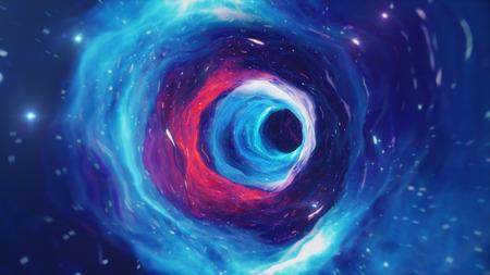 Ilustracja tunelu lub tunelu czasoprzestrzennego, tunelu, który może łączyć jeden wszechświat z innym. Streszczenie tunelu prędkości w kosmosie, tunelu czasoprzestrzennym lub czarnej dziury, scena pokonywania tymczasowej przestrzeni w kosmosie.