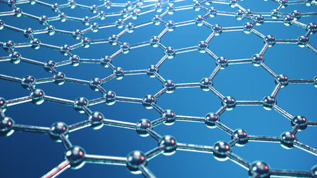 3d Illustration structure of the graphene or carbon surface, abstract nanotechnology hexagonal geometric form close-up, concept graphene atomic structure, concept graphene molecular structure. 版權商用圖片