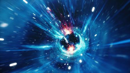 3D-Illustrationstunnel oder Wurmloch, Tunnel, der ein Universum mit einem anderen verbinden kann. Abstrakte Geschwindigkeitstunnelverzerrung im Weltraum, Wurmloch oder Schwarzes Loch, Szene der Überwindung des temporären Raums im Kosmos.
