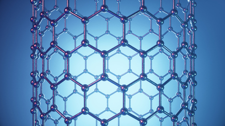 3d Illustration structure of the graphene tube, abstract nanotechnology hexagonal geometric form close-up, concept graphene atomic structure, concept graphene molecular structure. Carbon tube