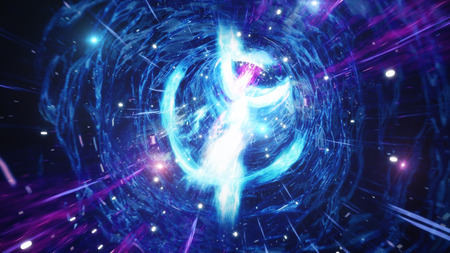 3D illustration tunnel or wormhole, tunnel that can connect one universe with another. Abstract speed tunnel warp in space, wormhole or black hole, scene of overcoming the temporary space in cosmos. Stok Fotoğraf