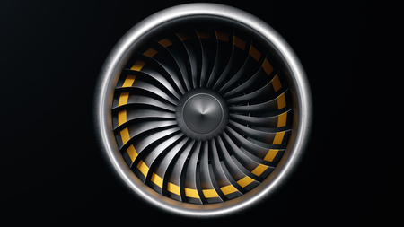 3D illustration jet engine, close-up view jet engine blades. Isolated on black background jet engine. Rotating blades of the turbojet. Part of the airplane. Blades at the ends painted orange
