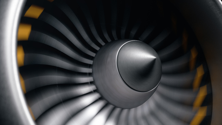 Jet engine, close-up view blades. Engine blades at the ends painted orange. Jet engine blades in motion. Part of the airplane. 3D illustration Reklamní fotografie