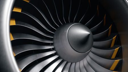 3D illustratie straalmotor, close-up weergave straalmotor bladen. Roterende bladen van de turbojet. Een deel van het vliegtuig. Messen aan de uiteinden oranje geverfd