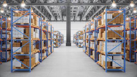 Entrepôt avec des cartons à l'intérieur sur des rayonnages à palettes, centre logistique. Immense, grand entrepôt moderne. Entrepôt rempli de boîtes en carton sur des étagères, des boîtes se tiennent sur des palettes, Illustration 3D
