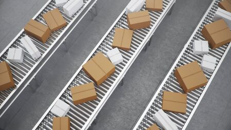 3D illustration Packages delivery, packaging service and parcels transportation system concept, cardboard boxes on a conveyor belt in a warehouse, Three conveyor belts