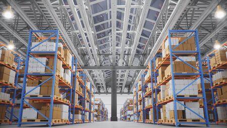 Warehouse with cardboard boxes inside on pallets racks, logistic center. Huge, large modern warehouse. Warehouse filled with cardboard boxes on shelves, boxes stand on pallets, 3D Illustration