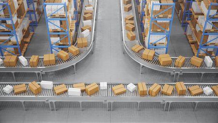 Packages delivery, parcels transportation system concept, cardboard boxes on conveyor belt in warehouse. Warehouse with cardboard boxes inside on pallets racks. Huge modern warehouse, 3D Illustration Zdjęcie Seryjne