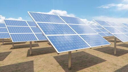 Solar panels. Alternative energy. Renewable energy concept. Ecological, clean energy. Photovoltaic solar panels, with reflection of a beautiful blue sky. Solar panels in the desert. 3D illustration