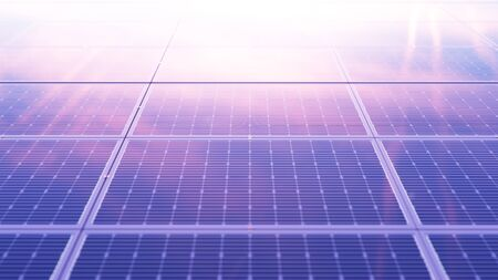 Solar panels at sunset. Alternative energy. Ecological, clean energy. Photovoltaic solar panels, with reflection of a beautiful evening sky. Solar panels in the desert. 3D illustration 写真素材