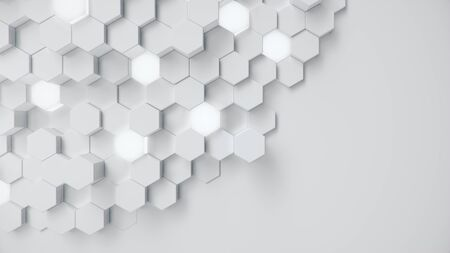White geometric hexagonal abstract background. Surface polygon pattern with glowing hexagons, honeycomb. Abstract white self-luminous hexagons. Futuristic abstract background 3D Illustration Reklamní fotografie