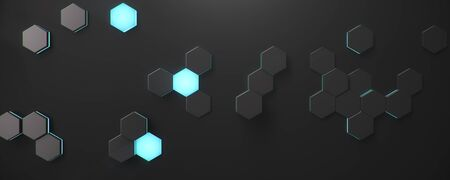 Black geometric hexagonal abstract background. Surface polygon pattern with blue glowing hexagons, honeycomb. Abstract blue self-luminous hexagons. Futuristic abstract background 3D Illustration