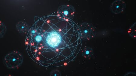 3D Illustration Atomic structure. Atom is the smallest level of matter that forms chemical elements. Glowing energy balls. Nuclear reaction. Concept nanotechnology. Neutrons and protons - nucleus.