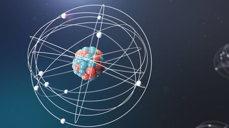 Abstract atom model. Atom is the smallest level of matter that forms chemical elements. Glowing energy balls. Nuclear reaction. Concept nanotechnology. Neutrons and protons - nucleus. 3D Illustration Stock Photo