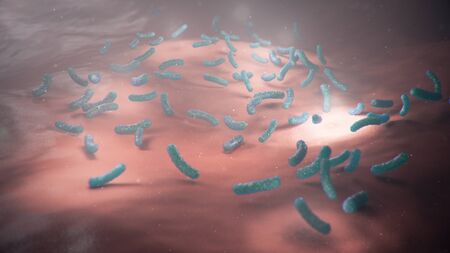 3d illustration viruses causing infectious diseases, decreased immunity. Concept of viral disease. Virus abstract background. Cell infect organism. Abstract pathogenic bacteria. Rabies virus