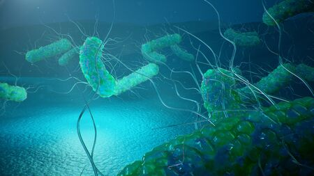 Viruses causing infectious diseases, decreased immunity. Concept of viral disease. Virus abstract background. Cell infect organism. Abstract pathogenic bacteria. Rabies virus, 3d illustration Stockfoto