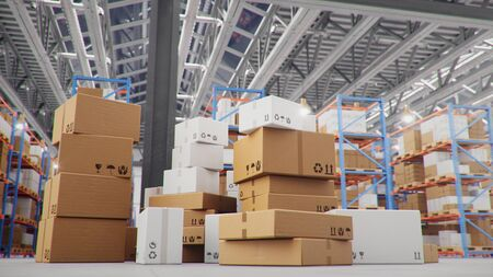 Cardboard boxes in middle of the warehouse, logistic center. Huge modern warehouse. Warehouse filled with cardboard boxes on shelves, boxes stand on pallets. Transportation system. 3D Illustration