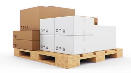 3D illustration cardboard boxes on wooden pallets isolated on a white background. Cardboard boxes for the delivery of goods. Packages delivery, parcels transportation system concept Stockfoto