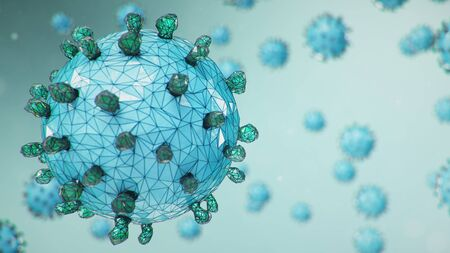 Abstract virus background, flu virus or COVID-19. The virus infects cells. COVID-19 under the microscope, pathogen affecting the respiratory system. Infection causing chronic disease, 3d illustration 版權商用圖片 - 141945055