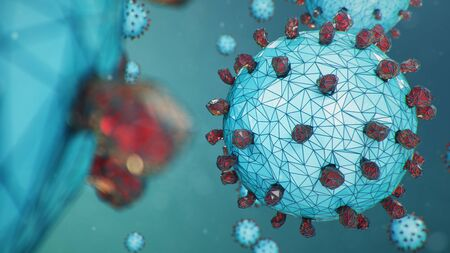 Abstract virus background, flu virus or COVID-19. The virus infects cells. COVID-19 under the microscope, pathogen affecting the respiratory system. Infection causing chronic disease, 3d illustration 版權商用圖片 - 141945131