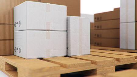 3D illustration cardboard boxes on wooden pallets isolated on a white background. Cardboard boxes for the delivery of goods. Packages delivery, parcels transportation system concept Foto de archivo