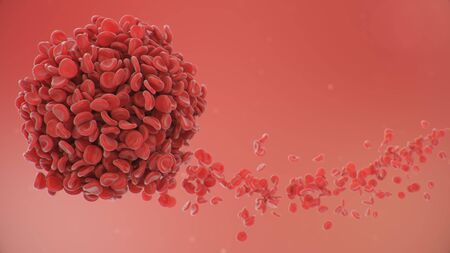Abstract sphere from a blood clot cells background. Scientific and medical microbiological concept. Enrichment with oxygen and important nutrients. Transfer of important elements. 3d illustration Stock Photo