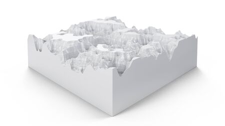 Cross section topographic three-dimensional map. Contour lines on a topographic map. Studying the geography of the area: hills, mountains and plains. Cartography concept background, 3d illustration