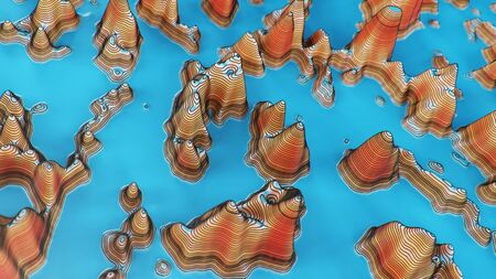 Topographic 3D map of dangerous mountain terrain. Contour lines on a topographic map. Studying geography of area: hills, mountains and plains. Cartography concept, mountain hiking. 3d illustration