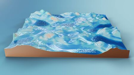 Cross section topographic 3D map with water. Contour lines on a topographic map. Studying the geography of the area: hills, mountains and plains. Cartography map on blue background, 3d illustration Imagens