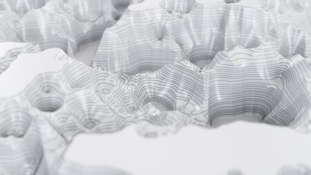 White three-dimensional topographic map. Contour lines on a topographic map. Studying the geography of the area: hills, mountains and plains. Cartography concept background, 3d illustration Imagens