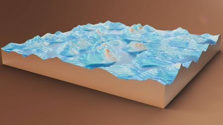 Cross section topographic 3D map with water. Contour lines on a topographic map. Studying the geography of the area: hills, mountains and plains. Cartography map on brown background, 3d illustration Zdjęcie Seryjne