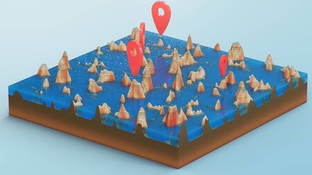Red pointers, markers on the 3D map navigation. Contour lines on a topographic map. Studying the geography of the area: hills, mountains and plains. Cartography map on blue background, 3d illustration Imagens