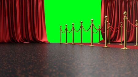 Awards show background with red curtains open on green screen. Red velvet carpet between golden barriers connected by a red rope. Curtains theater stage, 3d Rendering