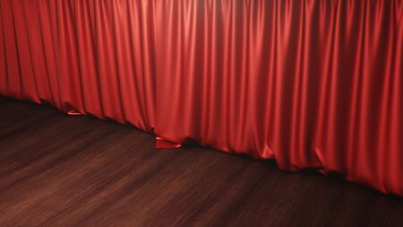 Red silk curtains closed. Theater and cinema concept. Theater stage, performance in front of the public, concert. Awards show, 3D rendering