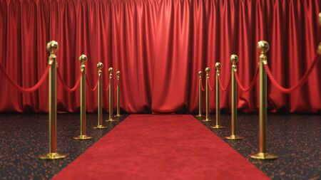 Awards show background with closed red curtains. Red velvet carpet between golden barriers connected by a red rope. Curtains theater stage, 3d Rendering Imagens