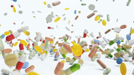 Falling different colored tablets, capsules on white background. Health care concept. Antibiotics inside pills, vitamins. Product from pharmacy. Pharmaceutical company, industry, 3d illustration Imagens