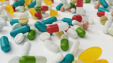 Many different colored tablets, capsules isolate on white background. Health care concept. Antibiotics inside pills, vitamins. Goods from pharmacy. Pharmaceutical company, industry, 3d illustration Imagens