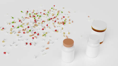Pills on the floor with jars, different colored tablets, capsules. Health care concept. Antibiotics inside pills, vitamins. Product from pharmacy. Pharmaceutical company, industry, 3d illustration