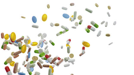 Flying, falling pills. different colored tablets isolate on white background. Health care concept. Antibiotics inside pills, vitamins. Product from pharmacy. Pharmaceutical company, industry. 3d illustration