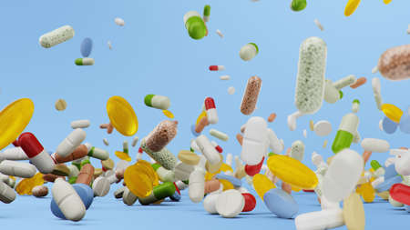 Many different colored tablets, capsules on blue background. Health care concept. Antibiotics inside pills, vitamins. Goods from the pharmacy. Pharmaceutical company, industry, 3d illustration