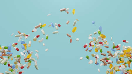 Flying, falling pills. different colored tablets, capsules. Health care concept. Antibiotics inside pills, vitamins. Product from pharmacy. Pharmaceutical company, industry, 3d illustration