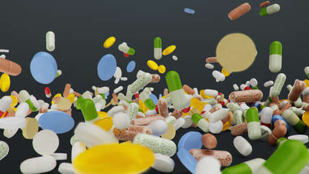Falling different colored tablets, capsules on black background. Health care concept. Antibiotics inside pills, vitamins. Product from pharmacy. Pharmaceutical company, industry, 3d illustration