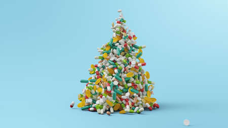 Falling pills, capsules on a blue background. Heap colorful pills. The rotating tablets form a hill. Pharmaceutical industry. Health care concept. Product from pharmacy, 3d illustration