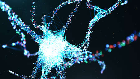 Abstract neural cells. AI neuron. Artificial neural network technology science. Synapses and neuronal cells send electrical signals. Cloud computing, transmission of information, 3d illustration