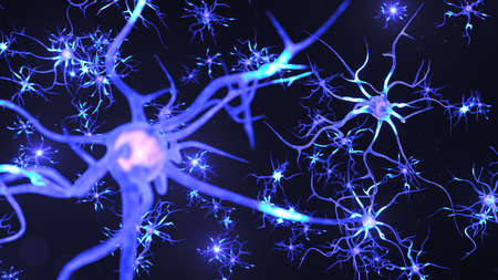 Artificial intelligence concept. AI neuron. Artificial neural network technology science. Neuron of interconnected neurons with electrical impulses. Transmission of information, 3d illustration