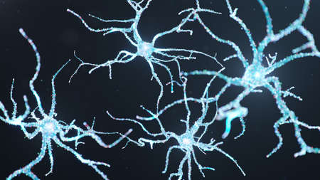 Abstract neural cells with luminous dots. Synapses and neuronal cells send electrical chemical signals. Neuron of interconnected neurons with electrical impulses. Transmit information, 3d illustration Imagens