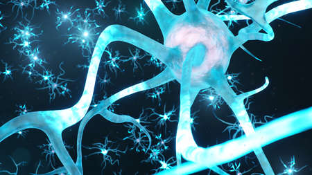 Abstract neural cells. Synapses and neuronal cells send electrical chemical signals. Transmission information. Neuron of Interconnected neurons with electrical pulses, 3d illustration