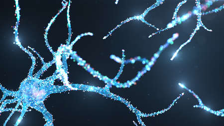Abstract neural cells with glow dots. Brain research and science. Luminous, glowing interconnected neurons. Neurons between themselves send an electric impulse. Transmit information, 3d illustration
