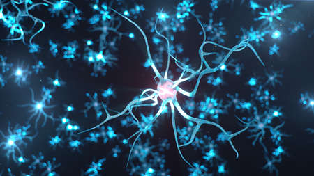 Conceptual illustration of neuron cells send an electrical charge for transmit information. Brain research. Interconnected neurons. Neurons between themselves send electric impulse, 3d illustration