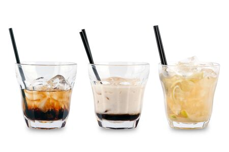 Three decorative coctails on a white background. photo
